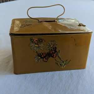 Vintage Mustard Tin Butterfly Bin with Clasp